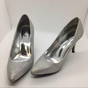 143 Girl Silver Sparkle Owanda Heels Size 6